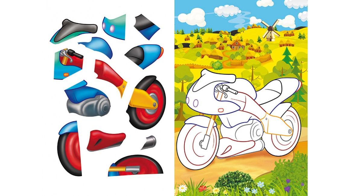 Аплікації для малят. Мотоцикл