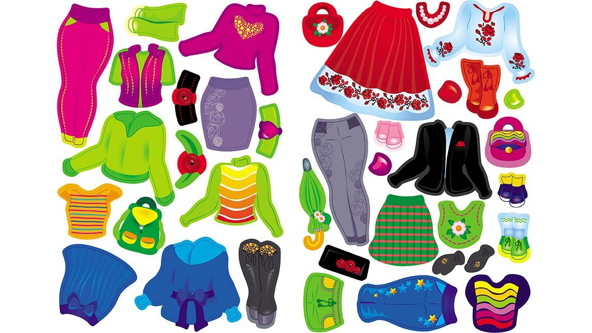 Одягни ляльку №7, 38 багаторазових наліпок для модниці. Салатова