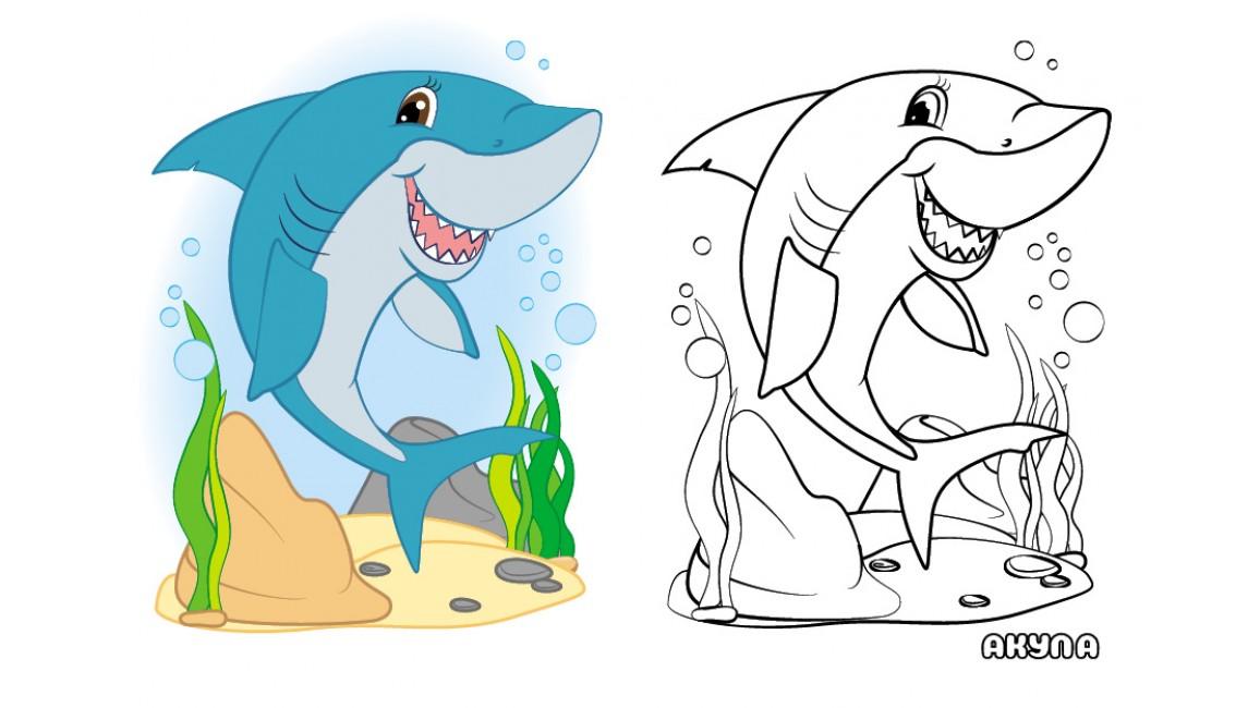 Морські тварини. Подивись та розфарбуй