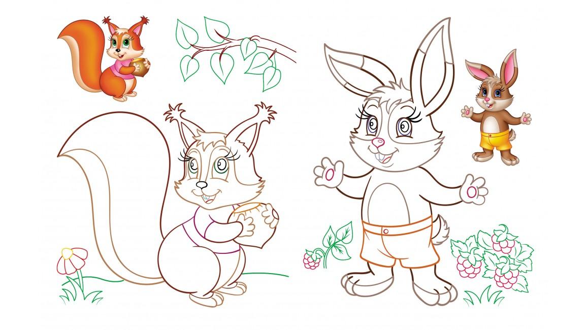 Розмальовка малюкам. Зайці