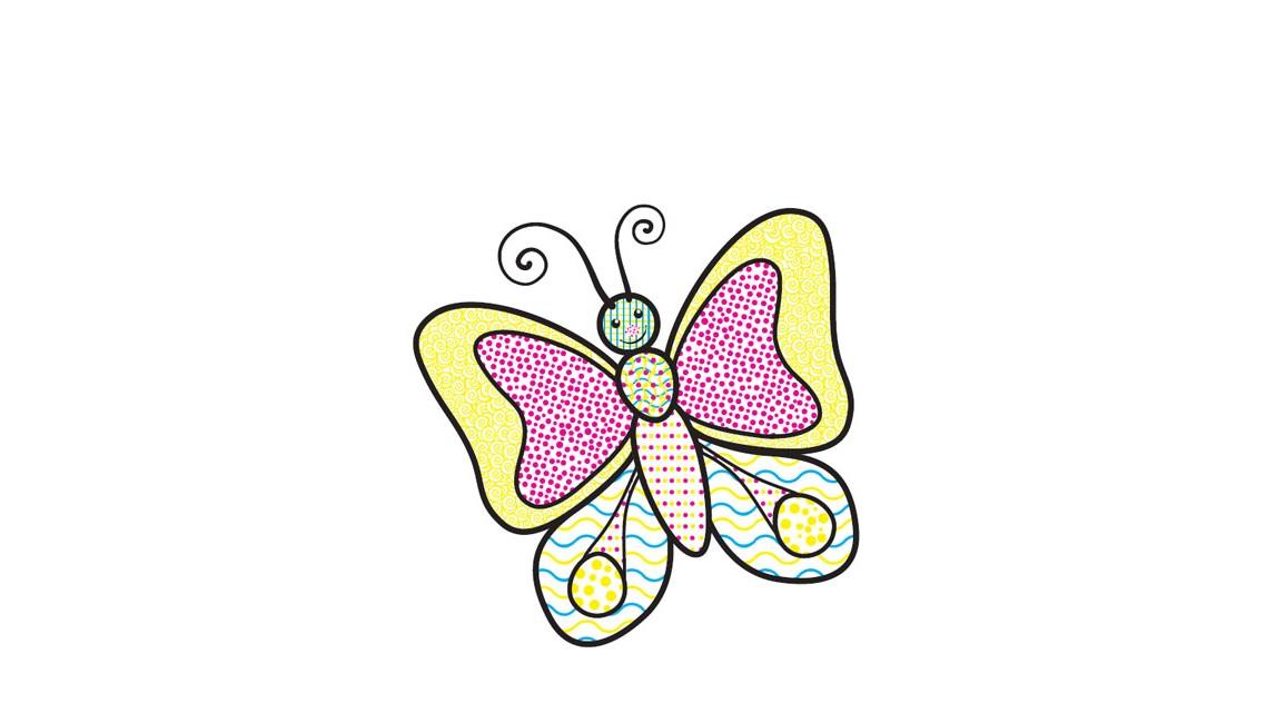 Водные раскраски. Бабочка