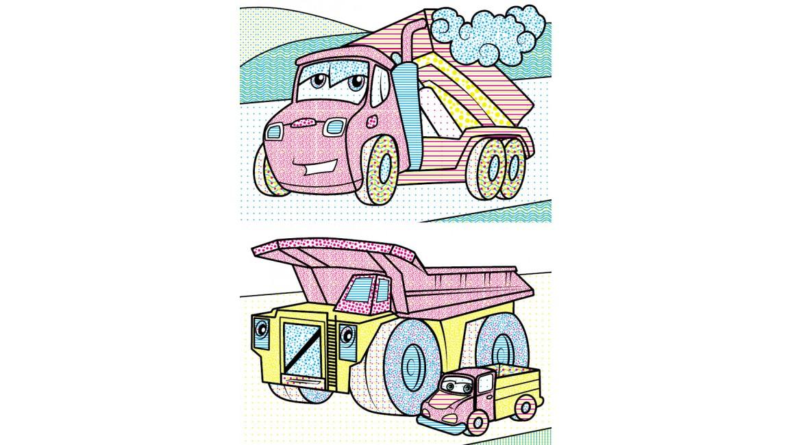Водні розмальовки. Трактор з ковшем